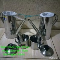 teko thai tea 1 set 27cm 2pcs, mug 9cm 2pcs, saringan kain 2pcs
