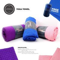 Yoga Mat Towel with Bag Anti Slip, Anti Bacterial Washable - Pink