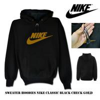 Sweater hoodie nike classic black check gold