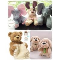 READY JAKARTA mainan boneka cilukba gajah dog teddy bear peekaboo peek