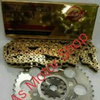 Gear set sss 428 rantai gold wilwood 128L cb150r cbr150r tiger megapro