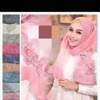 hijab pashmina motif bunga panjang organza