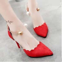Model Baru Sepatu High Heels Casual Ujung Lancip Bahan Suede untuk