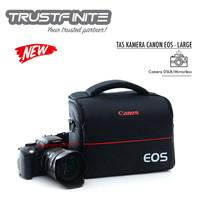 Tas Selempang Kamera + Strap Canon Nikon DSLR Mirrorless - Hitam Merah