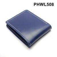 dompet pria kulit sapi asli warna biru - bifold wallet basic PHWL508