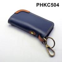 dompet stnk mobil motor kulit - gantungan kunci biru tan - PHKC504