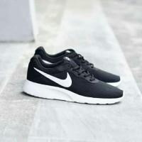 Sepatu Ori Nike Tanjun ORIGINAL Black ceklis white Hitam logo putih