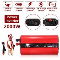 Converter Power Inverter DC 12 / 24V to AC 110 / 220V 2000W 2USB
