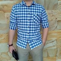 Kemeja Flanel biru muda | Kemeja Pria panjang motif Kotak