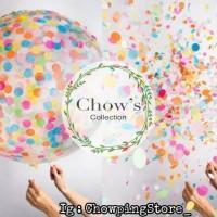 Balon Latex Confetti Transparan / Balon Latex Transparan Isi Confetti