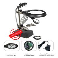 Penjepit PCB & Kaca Pembesar Besar & Dudukan solder & Lampu 5 in 1