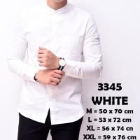 Kemeja Pria Lengan Panjang Putih Kerah Shanghai Kancing1 Slimfit 3345