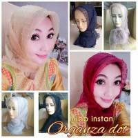 Jilbab Instant Hijab Instan Organza Dot Hijab Instan Kerudung