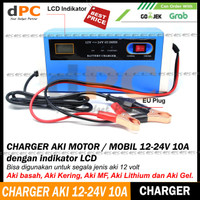 Charger Aki 12-24V 10A Portable Mobil - Motor Dengan Intelligent Chip