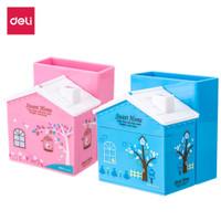 Deli E9138 Pulpen stand-PS House Desk Organizer 3 Comp Pink Blue