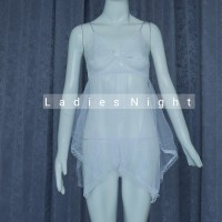 Pure White Franda Sexy Nightdress Lingerie -Laces +Gstring