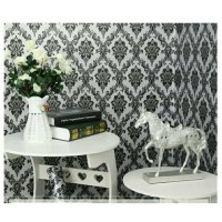 READY 10 METER - Wallpaper sticker Batik Hitam Minimalis (warna dasar