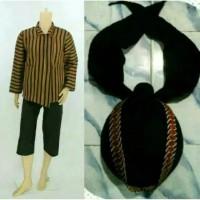 Setelan baju Surjan + celana bonus blangkon Jogja sliwir