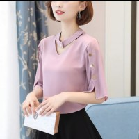 BLOUSE WANITA TWISCONT DUSTY PINK / BLOUSE EVELYN BUTTON DUSTY