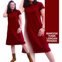 Eclipt Dress Wanita Tunik Polos - Kaos Cewek Lengan Pendek - Murah - Maroon