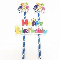 topper toper hiasan kue cake ulang tahun karakter baby shark babyshark