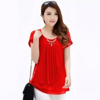 Korean Blouse Short Sleeve Variasi Neckles