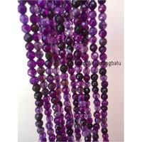 Batu kecubung serat FACET 4mm CUTTING purple amethyst bahan premium