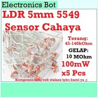 [EBS] Sensor Cahaya Light Dependent Resistor LDR 5mm Arduino 5549 5Pcs