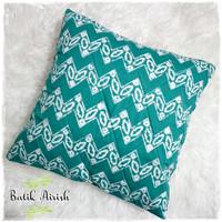 Sarung Bantal Batik CAP 40x40 cm | Zig Zag Tosca | Cushion Cover