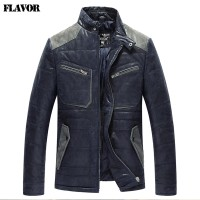 2016 Mens real leather jacket pigskin padding cotton warm