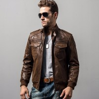 Mens pigskin motorcycle real leather jacket padding cotton