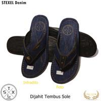 STEXEL Denim Sandal Casual Kekinian Jepit Pria Dijahit Tembus Sole