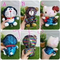 Boneka flip Sequin Hello Kitty Doraemon Bear