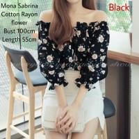 Mona Flow Sabrina Hitam [Baju Atasan Wanita 0141] SGO
