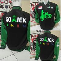 Custom jaket gojek Hitam Hijau Logo dada motor