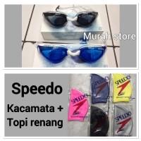 Kacamata renang speedo aquplus dan topi renang speedo satu set murah