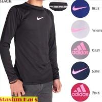Manset Baju Kaos Baselayer Hitam Lengan Panjang Olahraga Gym Pria Nike