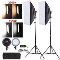 Paket LED Video Light Honeycomb Lighting Studio Bulat Lamp Bicolor set