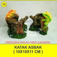 hiasan fiber / katak asbak / hiasan aquarium