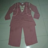 Stelan Baju Kerja Wanita Blus Kulot Busui Friendly Rompi Merah Pink