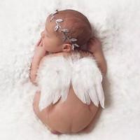 Set 2pcs Sayap Bulu Malaikat + Bandana Bayi Properti Fotografi Baby
