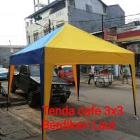 Tenda cafe ukuran 2x3 rangka double cover bahan terpaulin 410
