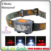 Senter Kepala / Headlamp Waterproof New Model - Gray - Hitam