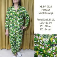 Piyama Setelan Motif Keroppi Hijau Wanita Lengan Panjang XLPP 0932