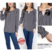 Tom tailor grey striped longsleeve cotton peasant blouse