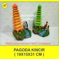 hiasan fiber / pagoda kincir / hiasan aquarium