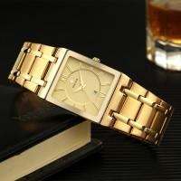 Jam tangan Pria Persegi wwoor 8858 Full Gold Steel Anti Air Original