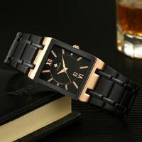 Jam tangan petak wwoor 8858 Rose Black Full Steel Anti Air Original