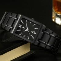 Jam tangan Pria Persegi wwoor 8858 Black Full Steel Anti Air Original