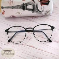 Kacamata vintage korea bulat pakai lensa anti radiasi 1920 - NORMAL Radiasi, Black Silver